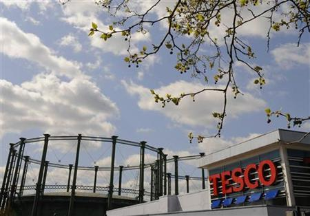 Branch of the Tesco supermarket is seen near Kennington gasworks in central London